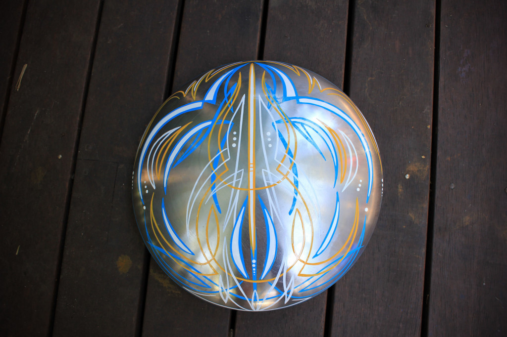 Pinstriping done with One shot enamel paint. dimensions 25 cm diameter. $75