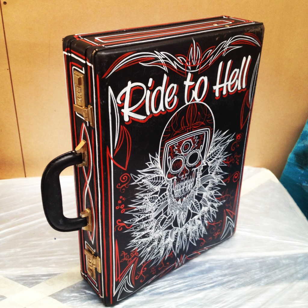 Customized brief case: Ride to Hell theme, all done with one shot enamel paint. $200