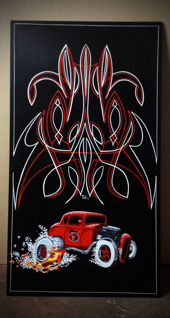 This is my last work,pinstriping hot rod panel,done with one shot paint. $200
